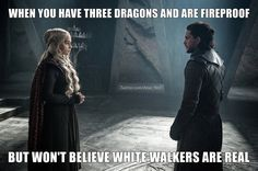 Game of Thrones season 7 funny humour meme, Jon Snow, Daenerys Targaryen, Kit Harington, Emilia Clarke