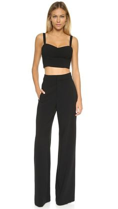 ¡Consigue este tipo de mono largo de BLACK HALO ahora! Haz clic para ver los detalles. Envíos gratis a toda España. Black Halo Kalem 2 Piece Jumpsuit: This Black Halo jumpsuit may be worn together or as separates. The formfitting crop top has knit lining for a comfortable fit. The high-waisted, wide-leg pants have 4 welt pockets. Hook-and-eye closures and zip fly. Fabric: Stretch suiting. Shell: 62% polyamide/33% viscose/5% elastane. Lining: 95% polyamide/5% elastane. Dry clean. Made in…