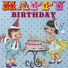 happy birthday vintage kids
