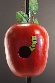 Handpainted  Apple and Worm Gourd Birdhouse by pompompurses, $25.00