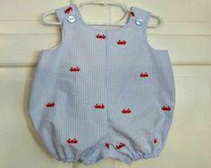 Baby Boy Bubble Romper JonJon, Summer Crab Seersucker Bubble, Beachwear, Custom Boutique Children Clothing, 1st Birthday