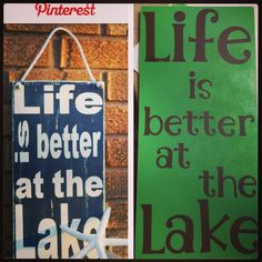 Pinterest inspiration on the left, my creation on the right! A little spray paint, sandpaper & cricut letters can make beautiful signs.