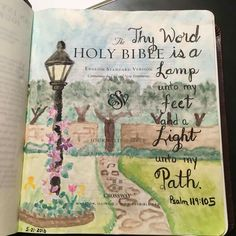 Bible journaling Lamp and path Bible Drawing, Bible Doodling, Bible Prayers, Bible Scriptures, Bible Quotes, Scripture Art, Bible Art, Bible Verses About Love, Christian Images
