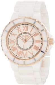a_line Women's 20040-WWWRR Marina White Textured Dial White Ceramic Watch
