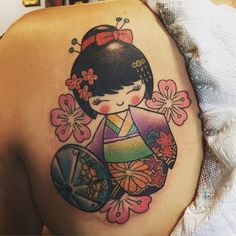 One shot shoulder #tattoo #kokeshi #kokeshitattoo #kokeshidoll so #kawaii !!!