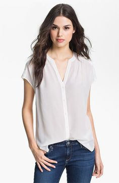 (for casual/work, could go with skinny cargos) Hinge® Silk Blouse | Nordstrom