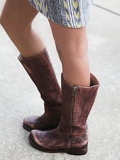 Bowman Tall Zip Boot | Distressed leather tall boots with contrast shafts and full side zips.  *By FREEBIRD by STEVEN