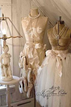 Pretty...pointe shoes & old dress forms