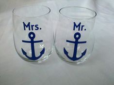 Mr. and Mrs. boat anchor stemless wine glasses, nautical themed wine glasses for bride and groom wedding, navy blue