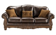 North Shore - Dark Brown - Sofa by Millennium. Get your North Shore - Dark Brown - Sofa at Sleep Masters & Furniture Now, Tyler TX furniture store. Leather Sofa And Loveseat, Sofa Couch, Couch Set, Leather Couches, Leather Furniture, Living Room Sets, Living Room Furniture, Living Room Decor, House Furniture
