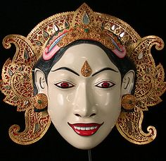 Sita mask  Wayang Wong dance drama, Bali, Indonesia  11 inches wide, painted wood, gilded and mirrored leather, jewelry