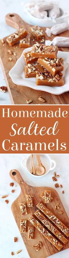 These homemade Salted Vanilla Caramels with Pecans are perfectly smooth, chewy and flavorful! Step-by-step photos, recipe and tips for success. #homemadecaramel #saltedcaramel #caramelrecipe