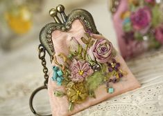 Splendid Ribbon Embroidery Coin Purse