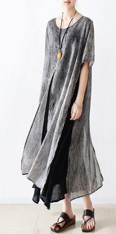 new original summer prints chiffon dress layered loose cotton sundress short sleeve casual dresses