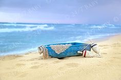 Instant Download Newborn Baby Photography Digital Backdrop Beach Boat Scene Hawaii