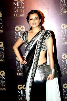 dia mirza @deespeak in gorgeous b & w #saree & blouse ~