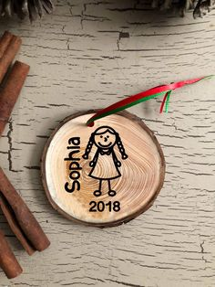 Personalized Girl Christmas Ornament,  Girl with Glasses, Rustic Ornament, Personalized Holiday Decor, Custom Made, Wood , 2018 Ornament