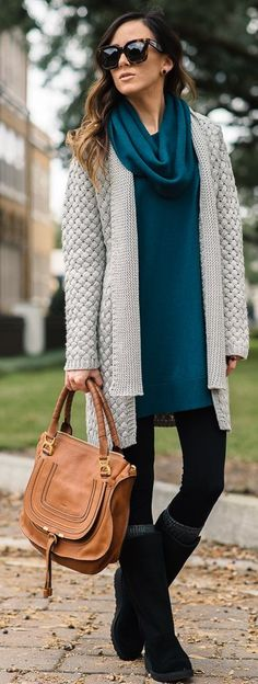 New Slim U G G Boots Chunky Knit Cardigan Fall Street Style Inspo by Sequins & Things
