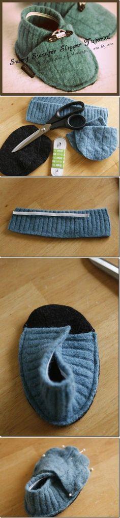 Стильные пинетки из старого свитера. | Переделки | Постила