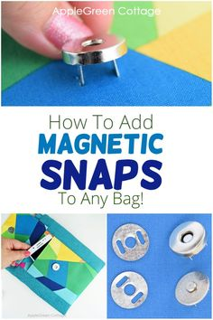 See how to attach magnetic snaps - How to install magnetic snaps closure to any bag. Easy purse snaps to use in bag-making for a professional look. Find out what types of magnetic snaps, what sizes, and what ways to add snap magnets to any purse. Must-see! Coin Purse Pattern, Wallet Pattern, Purse Patterns, Sewing Patterns Free, Free Sewing, Easy Sewing Projects, Sewing Projects For Beginners, Sewing Tips, Sewing Hacks