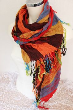 Orange Turkish scarf Ethnic Men scarves Color by Nazcolleccolors