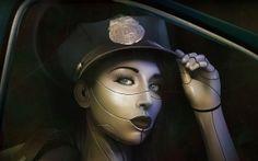 lábios, boné, fantasia, face, menina, ver, polícia, cyborg, Arte, lei, pestanas
