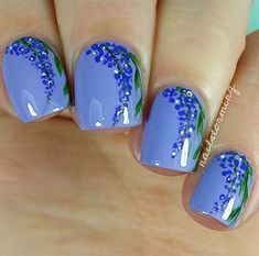 8 of March nails, Blue lacquer nails, flower nail art, Flower nails, Leaves nails, Medium nails, Spring nail designs, Spring nails 2016