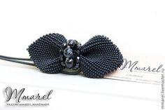 """Купить галстук бабочка остроконечный из бисера """"с черным агатом"""" - однотонный, черный, галстук-бабочка"""