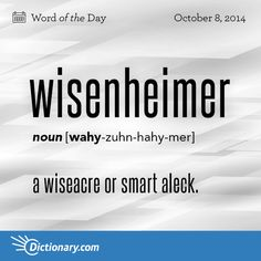 Wisenheimer: a wiseacre or smart aleck Unusual Words, Weird Words, Rare Words, Big Words, Words To Use, Unique Words, Cool Words, Vocabulary Enhancement, Foreign Words