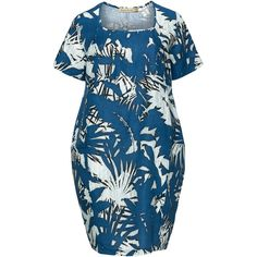 Isolde Roth Blue Plus Size Printed cocoon linen dress ($175) ❤ liked on Polyvore featuring dresses, blue, plus size, plus size linen dresses, blue floral dress, short sleeve summer dresses, short sleeve dress and women plus size dresses