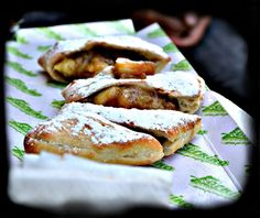Calzone with caramelized apple and raisins, sprinkled with powdered sugar...