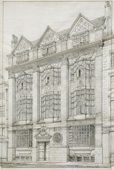 Norman Shaw RA, Presentation drawing of New Zealand Chambers, 34–35 Leadenhall Street, London: perspective, 1873.Black ink on paper. / ©Royal Academy of Arts, London.