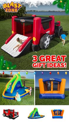Best holiday gift ever? Bring the amusement park home with Blast Zone bounce houses and slides! Purchasing can pay for itself in as little as one use as compared to renting. Browse an extensive selection of durable designs that kids love at www.BlastZone.com