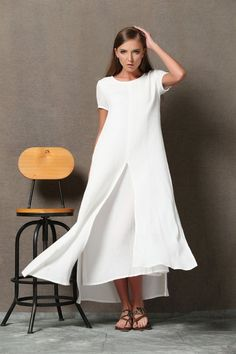 White Layered Linen Dress - Loose-Fitting Short Sleeved Side Pockets Long Maxi Dress Plus-Size Clothing (C534)