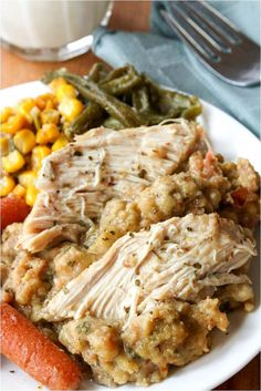 Just set it and forget it ;) This crock pot chicken & stuffing is a delicious home cooked meal that's as easy as it gets!