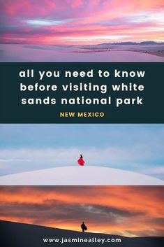 If youre looking for a beautiful natural experience in New Mexico, check out White Sands National Monument! These gorgeous gypsum sand dunes are unlike any other dunes in the world! Check out my post to learn all about the parks entrance fees & hours, how to get there from Albuquerque or El Paso, what to do when youre there, where to stay, information about camping and sledding on the dunes, good photo spots, and so much more!