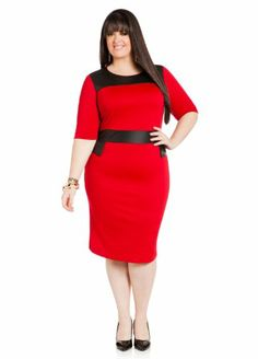 Ashley Stewart Women's Plus Size Ponte And Faux Leather Dress Red 12 Ashley Stewart, To SEE or BUY Just CLICK on AMAZON right HERE http://www.amazon.com/dp/B00HX0V5C2/ref=cm_sw_r_pi_dp_Rethtb111ZQ6TRN1
