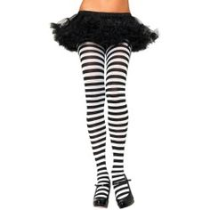 Black and White Striped Tights - Stockings and Tights