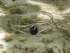Solid Sterling Silver and Black Onyx Navajo Cuff by AntiquesNXS, $55.00