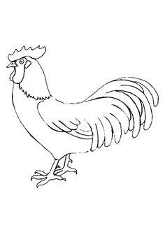 Image d'un coq bien robuste, coloriage pour enfants