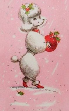 Poodle Dogs Just a pretty poodle at Christmas. Christmas Card Images, Vintage Christmas Cards, Retro Christmas, Christmas Cats, Christmas Greeting Cards, Christmas Greetings, Christmas Glitter, I Love Dogs, Cute Dogs