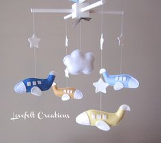 Baby Mobile  Airplane Mobile  Nursery Mobile by LoveFeltXoXo, $95.00