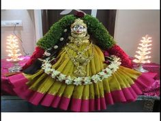 Varamahalakshmi Saree Draping ಶ್ರೀ ವರಮಹಾಲಕ್ಷ್ಮಿ ಸೀರೆ ಅಲಂಕಾರ ಭಾಗ -1/ Decoration part 1 - YouTube