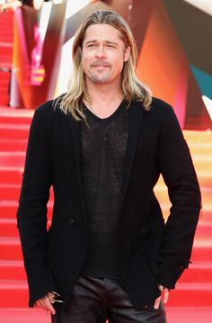 Brad Pitt  was clad in head-to-toe black (with just a bit of skin showing) at the Moscow premiere of  World War Z  in June 2013.