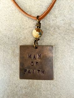 """Men's Tan Suede Cord Necklace with Hand Stamped """"MAN OF FAITH"""" Necklace by Stones on String"""