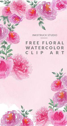 Free watercolor floral clip art set - Inkstruck Studio