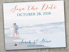 Beach Coral Navy Mint Date Photo Magnets Postcards Cards by SAEdesignstudio