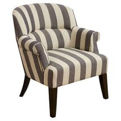 "Bring an eye-catching pop of style to your living room seating group or master suite ensemble with this striped accent chair, featuring exposed legs and rolled arms. Product: ChairConstruction Material: Wood and fabricColor: Blue, white and espressoFeatures: Rolled armsDimensions: 33.47"" H x 27.95"" W x 29.93"" D"
