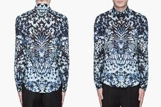 Alexander McQueen Blue Beetle Wing print shirt - view from the front and the back.