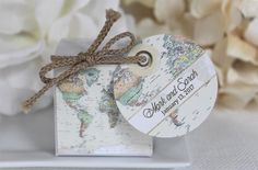World Map Favor Box   1.00 ea. map design with personalized old world tag and jute, simple assembly